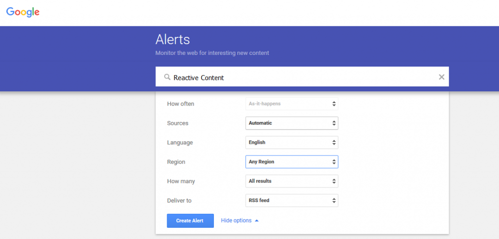 Google Alert For Reactive content